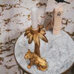 HV CANDLE HOLDER TIGER PALM GOLD