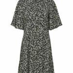 SLFUMA 2/4 SHORT AOP SHIRT DRESS M - BLACK